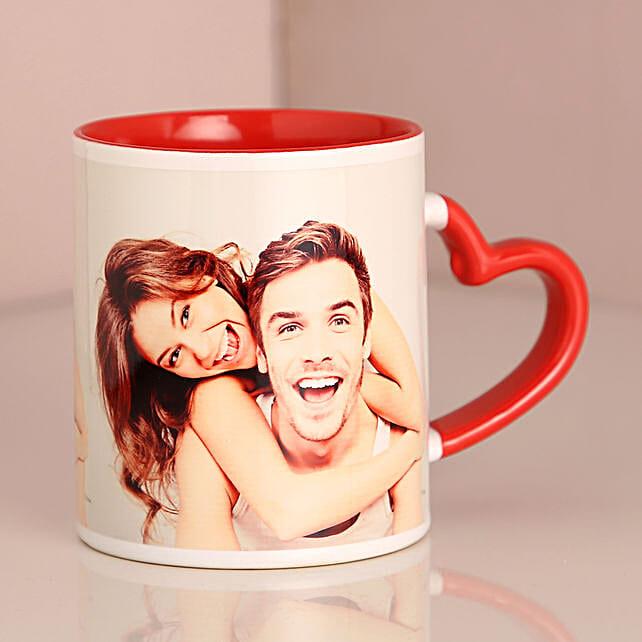 Personalised Red Heart Handle Mug: Personalised Mugs