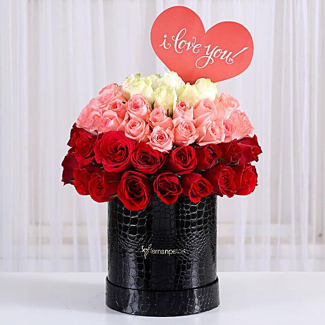 Eternal Love- Mixed Roses Box Arrangement: Karwa Chauth Flowers