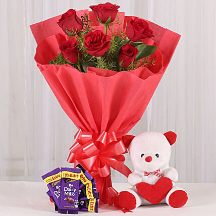 Rosy Love Affair- Teddy Bear & Chocolates: Flowers & Teddy Bears
