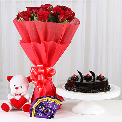 Red Roses Romantic Combo: Cadbury Chocolates