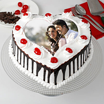Heart Shaped Black Forest Photo Cake: Black Forest Cakes
