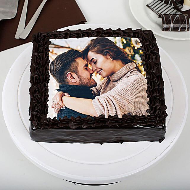 Rich Chocolate Photo Cake: Photo Cakes for Anniversary