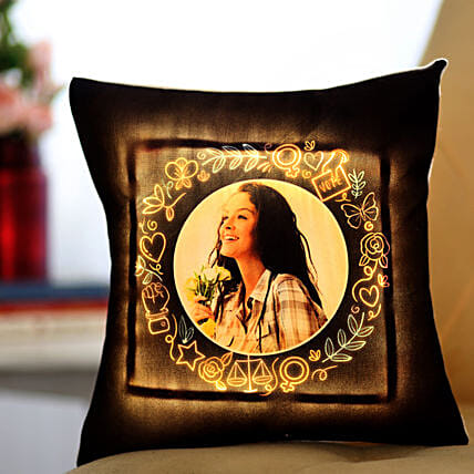 Personalised Yellow LED Cushion: Send Gifts for Girlfriend