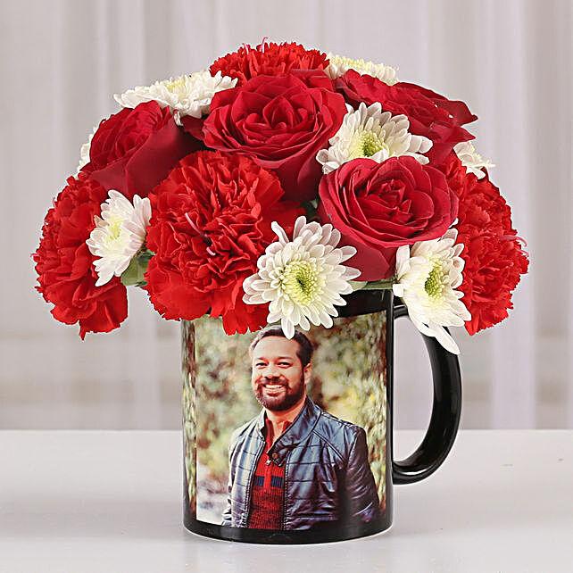 Mixed Flowers in Photo Mug: Bhai Dooj Personalised Gifts