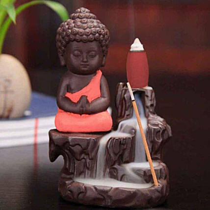 Monk Buddha Incense Burner- Imperial Red: Unusual Gifts