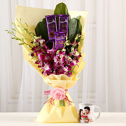 Dairy Milk & Orchids With Personalised Mug: Gift Combos For Anniversary