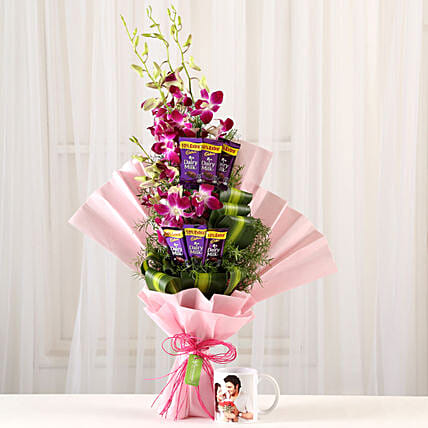 Personalised Mug & Purple Orchids Posy: Custom Photo Coffee Mugs