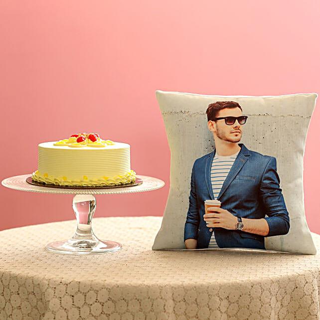 Creamy Butterscotch Cake & Picture Cushion Combo: Bhai Dooj Personalised Gifts
