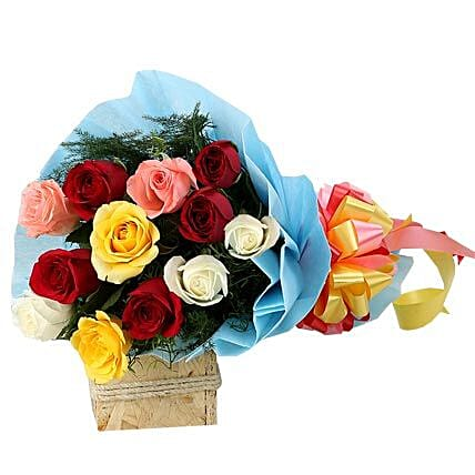 Colourful Mixed Roses Bouquet: Groom