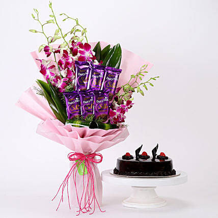 Bunch Of Orchids & Truffle Cake Combo: