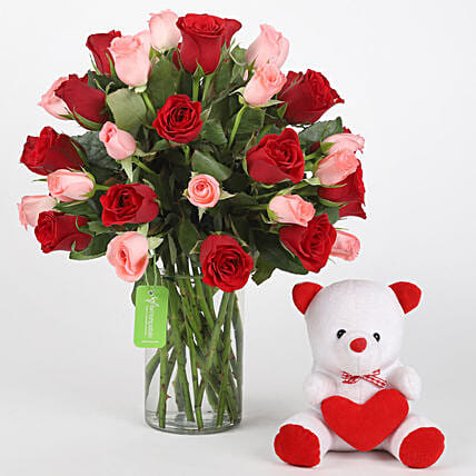 Red & Pink Roses With Teddy Bear: Flowers & Teddy Bears for Birthday