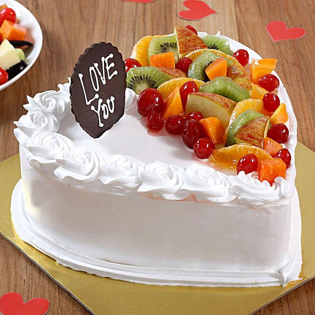 Heart Shaped Vanilla Fruit Cake: Send Heart Shaped Cakes to Chennai