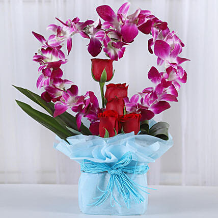 Romantic Heart Shaped Orchids Arrangement: Roses to Mumbai