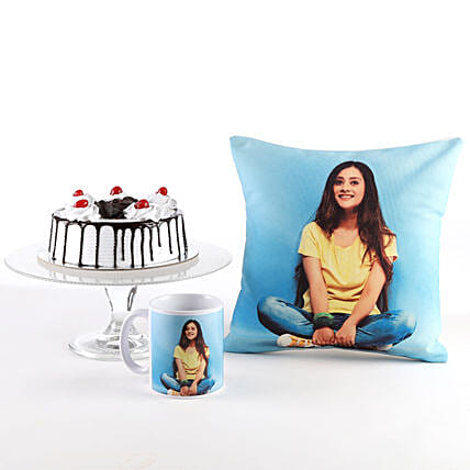 Photo Cushion, Mug & Black Forest Cake Combo: Custom Photo Coffee Mugs