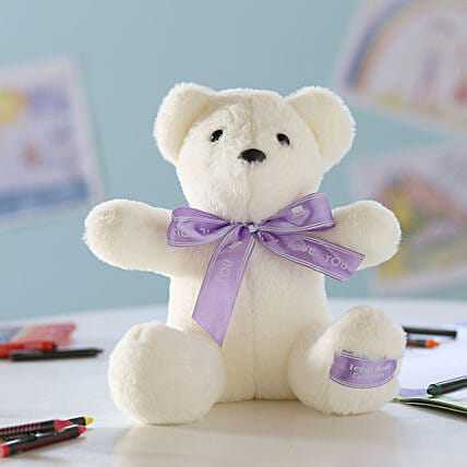 Teddy Bear With Bow- White: Soft Toys Gifts
