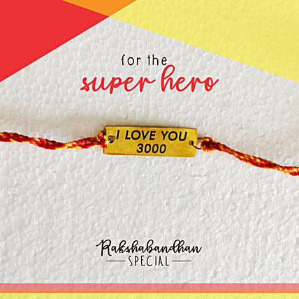 Avengers Special I Love You 3000 Rakhi & Card: Send Rakhi to Navasri