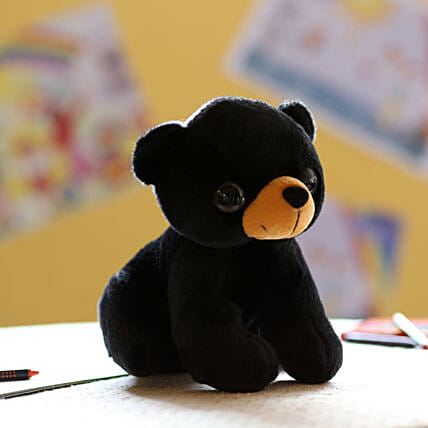 Adorable Black Dog Soft Toy: Send Soft Toys
