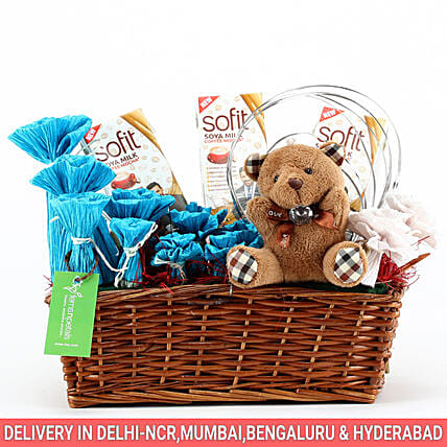 Sofit Soya Milk & Teddy Bear Basket: Gourmet Gifts India