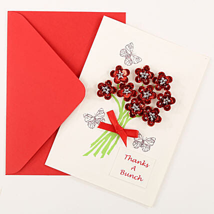 Thank You Red Bouquet Greeting Card: Send Gifts for 75Th Birthday