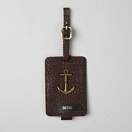 Personalised Croco Brown Luggage Tag: