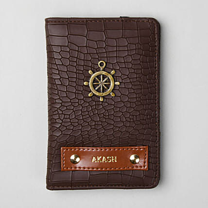 Personalised Croco Brown Passport Cover: