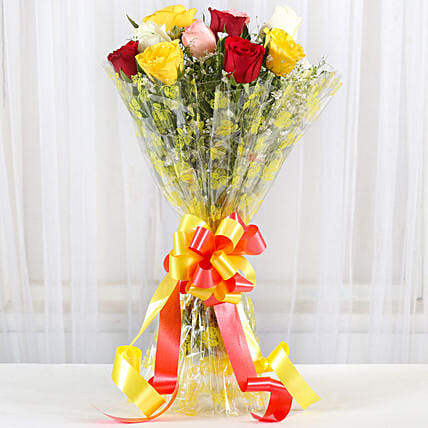 Magical Multicolored Roses Bouquet: Midnight Delivery Flowers