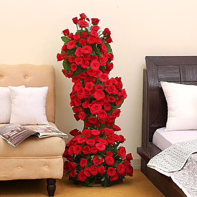 Premium 100 Red Roses Arrangement: Flowers for Anniversary