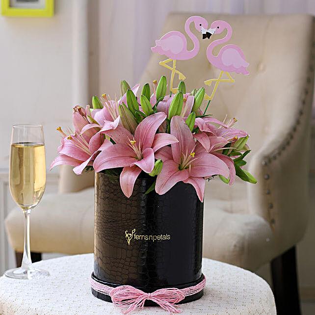 Flamingo Pink Asiatic Lilies Box:
