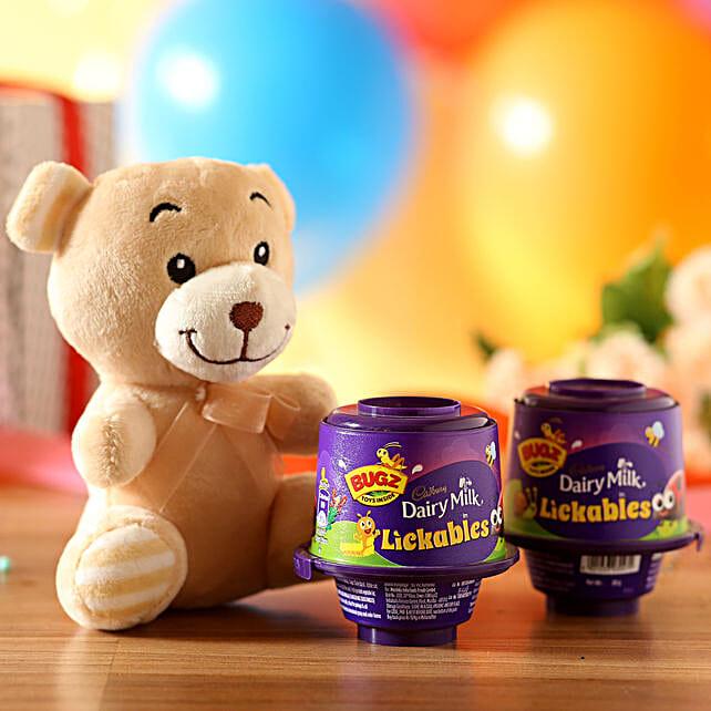 Adorable Teddy Bear & Cadbury Lickables: Send Soft Toys