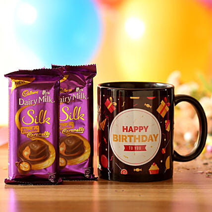 Birthday Mug & Mocha Caramello Chocolate: Cadbury Chocolates