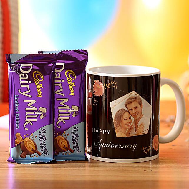 Personalised Anniversary Wishes Mug & Chocolates: