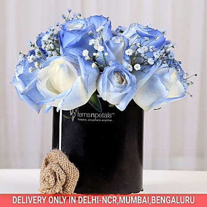 Shaded Love- Blue Roses Arrangement: Exotic Flowers