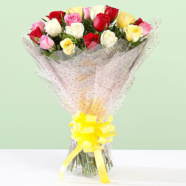 Vibrant 24 Roses Bouquet: Send Flower Bouquets