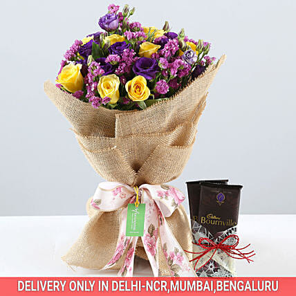 Vibrant Bouquet & Bournville Combo: Cadbury Chocolates