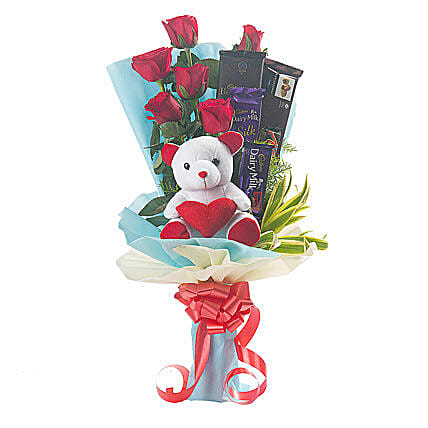 Roses, Teddy Bear & Chocolates Bouquet: