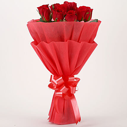 Vivid - Red Roses Bouquet: Karwa Chauth Flowers