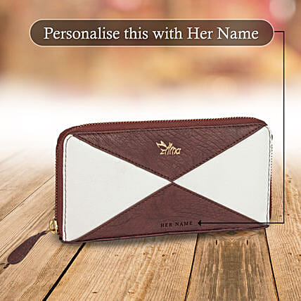 White & Brown Zipper Wallet: Personalised Handbags and Wallets