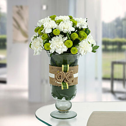 White Carnations Arrangement: Gifts for New Born
