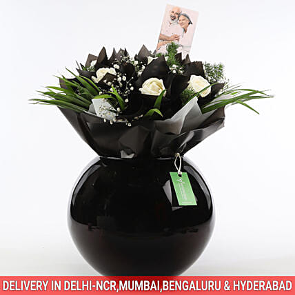 White Flowers & Black Paper Wrapping In Bowl: Vase Arrangements