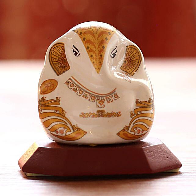 White Lord Ganesha Ceramic Idol: