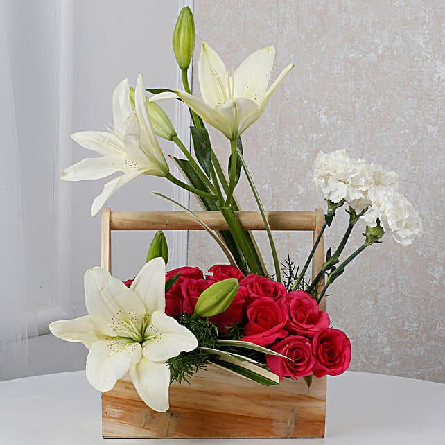 White N Pink Floral Wooden Arrangement: