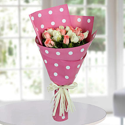 White N Pink Roses Bunch: