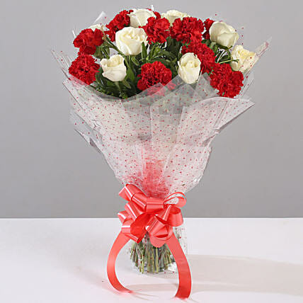 White Roses & Red Carnations Bouquet: Carnations