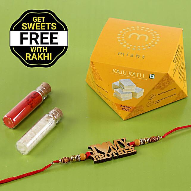 Wooden Rakhi With Free Kaju Katli Box: Rakhi / Raksha Bandhan Gifts