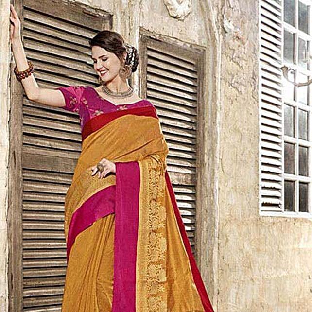 Yellow Art Silk Saree: Saree Gifts