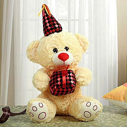 Yellow Bear With Red Gift: Soft Toys Gifts