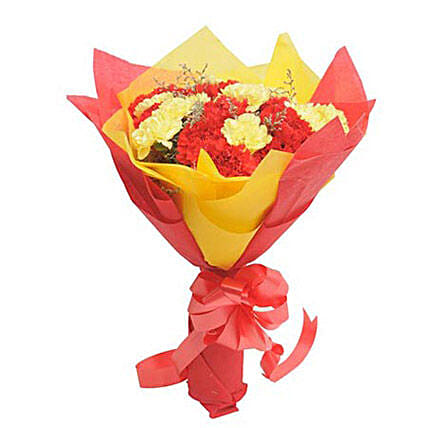 Yellow N Red Carnations: Hug Day Gifts