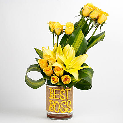 Yellow Roses Asiatic Lilies Arrangement For Best Boss Day Gifts