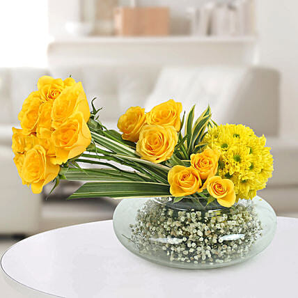 Yellow Roses N Daisies Arrangement: New Baby