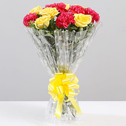 Yellow Roses & Pink Carnations Bouquet: Carnations